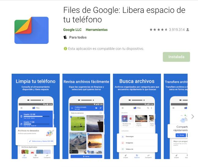 App Para Liberar Espacio De Móvil Android / Fuente: Google Play