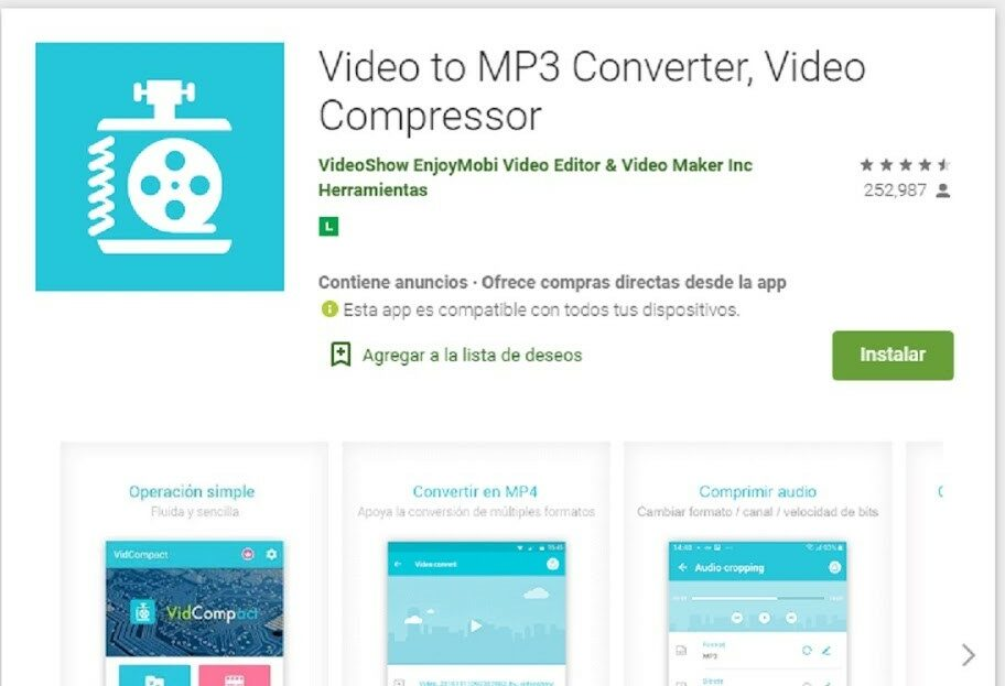 App Para Comprimir Videos En Móvil Android Fuente: Google Play